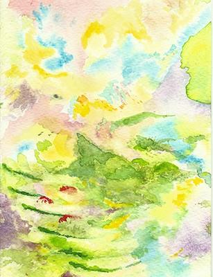 """""""Andean Fantasies"""", Aquarell auf Papier, 17,5 x 12,5 cm, 2020"""