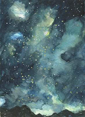 """""""Andean Night Sky"""", Aquarell auf Papier, 17,5 x 12,5 cm, 2020"""
