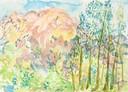 """Apu Intihuatana 2"", Aquarell auf Papier, Aquarell auf Papier, 26 x 36 cm, 2019"