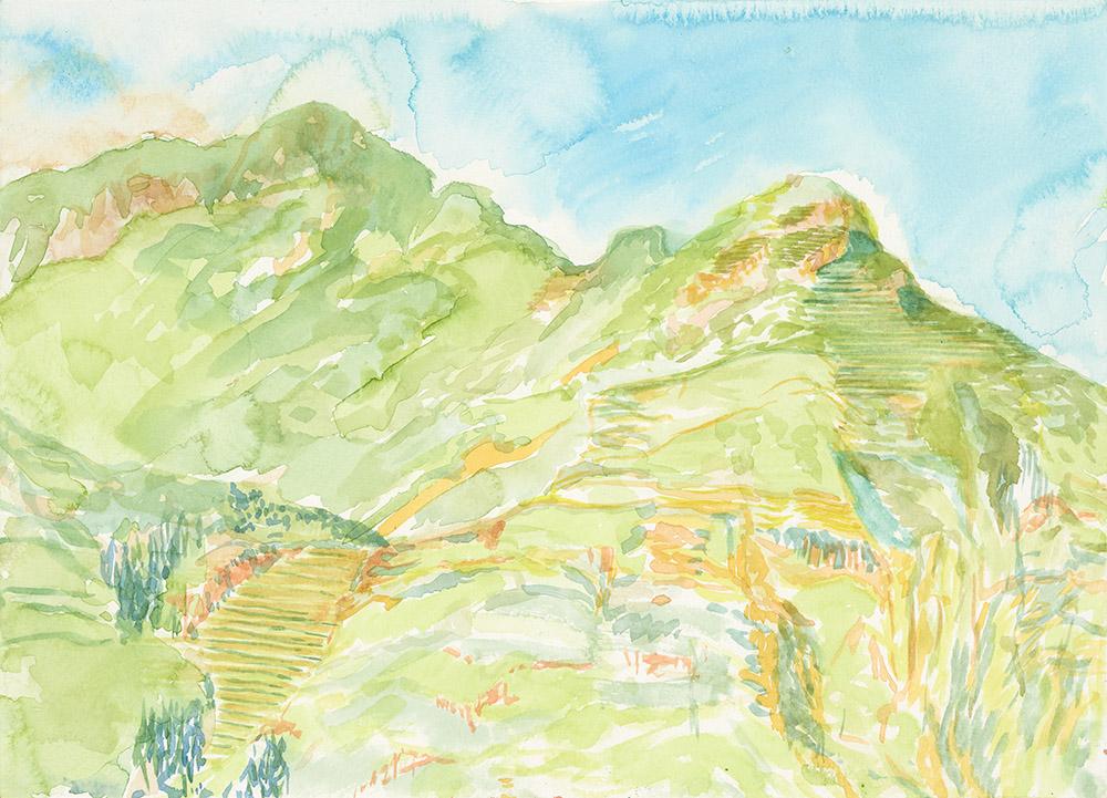 """Apu Intihuatana 3"", Aquarell auf Papier, 26 x 36 cm, 2019"