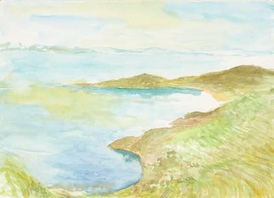 """Isla del Sol"", Aquarell auf Papier, 21 x 29,5 cm, 2019"