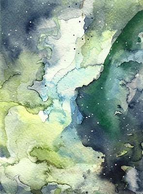 """Kosmische Nebel1"", Aquarell auf Papier, 17,5 x 12,5 cm, 2020"