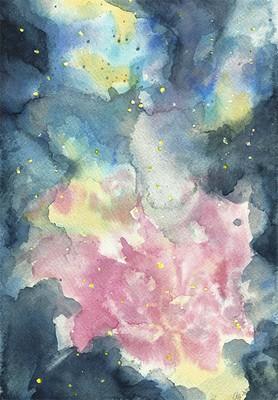 """Kosmische Nebelblume"", Aquarell auf Papier, 26 x 18 cm, 2020"