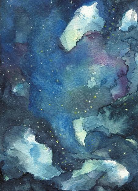 """""""Universum Tornado"""", Aquarell auf Papier, 17,5 x 12,5 cm, 2020"""