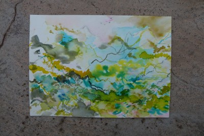 """""""Valle Sagrado 2"""", Aquarell auf Papier, 18 x 25 cm, 2019"""