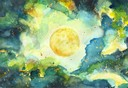 """""""Vollmond Juli 2020"""", Aquarell auf Papier, 17 x 25 cm, 2020"""