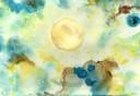 """Vollmond Mai 2020"", Aquarell auf Papier, 17 x 25 cm, 2020"