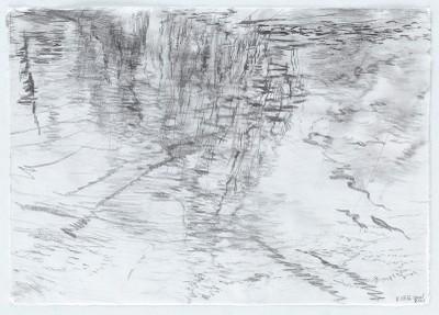 """""""Gewässer.KanalKreuzberg1"""", Bleistift auf Wenzhou Papier, 29,7 x 42 cm, 2016"""