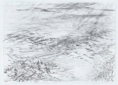 """""""Gewässer.Schlachtensee"""", Bleistift auf Wenzhou Papier, 29,7 x 42 cm, 2016"""